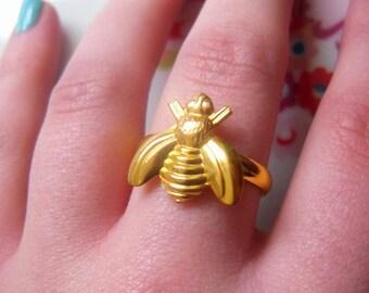 Cute Bumblebee Bee Gold Adjustable Ring, Simple, Summer, Pretty, Animal, Retro
