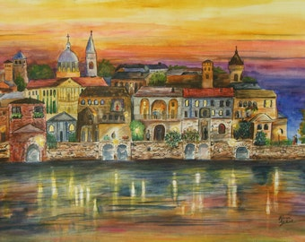 """This is a print of my original watercolor painting titled """"  Una Bella Citta"""".."""