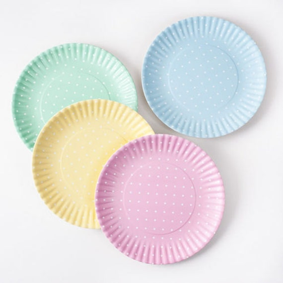 Items similar to Personalized Melamine Reusable Paper Plates Pastel Dots Set of Four on Etsy & Items similar to Personalized Melamine Reusable Paper Plates ...
