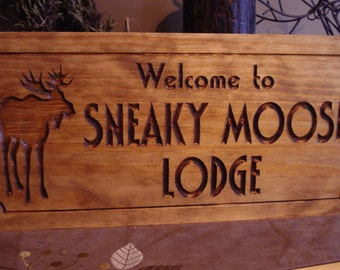 Welcome Sign Moose Lodge Sign Custom Carved Wood Signs FREE SHIPPING Rustic Signs Wood Cabin Lodge Camp Signs Personalized Wooden Sign Moose