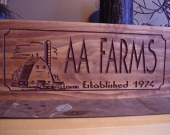 Custom Carved Signs,  Rustic Farm Sign, Carved Wooden Signs, Barn Sign, Welcome Sign, Family last Name Sign, Free Shipping, Benchmark Sign