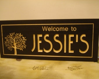 Black Carved Wooden Last Name Family Tree Address Sign Anniversary Wedding  Gift Wood Wall Art Wooden