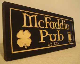 Personalized Bar Sign, St. Patricks Day,Custom Bar Plaques, Wood Pub Sign, Carved Signs, Wooden Signs, St Patty day, Irish Luck Shamrock