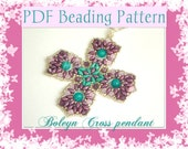 DIY Beading pattern Boleyn Cross pendant with superDuo beads / PDF tutorial with detailed instructions step by step, images and diagrams