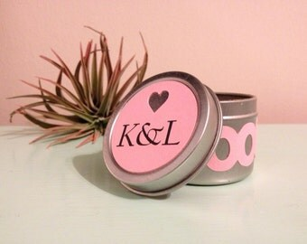 Spice Favor Tin with Cut Heart Initials Topper