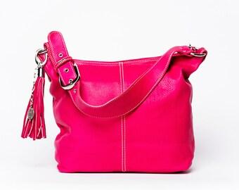 Handbag classic/ full grain leather/ size Medium / pink begonia #24