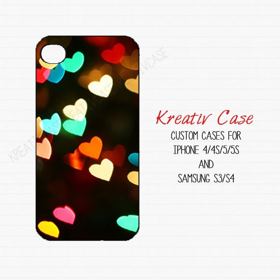 Samsung S4 case, Samsung Galaxy S3, Bokeh Hearts Colorful - Girly iPhone 5 case, iPhone 4 case, phone cover, Personalized phone case - K019
