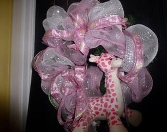 Baby Girl Wreath Embellished with a Cute Pink Polka Dot Giraffe