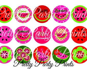 Instant Download Sweet Watermelons 1 inch Round Circles for Bottle Caps, Hair Bows, Jewelry, Magnets and Scrapbooking