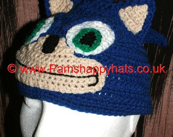 Sonic the Hedgehog Inspired Hand Crocheted Hat