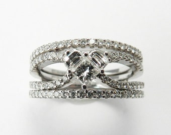 Genuine Diamond Engagement Ring Set Solid 18kt White Gold