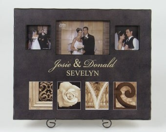 LOVE Collage PHOTO FRAME space for 3 photos black with notched edging custom engraved wedding