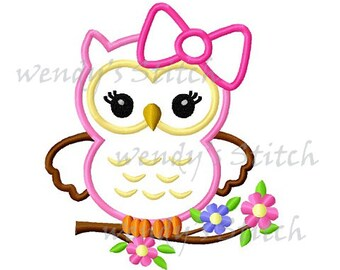 Big bow girl owl applique machine embroidery design
