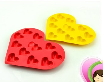 Heart Ice Tray Ice Mold Flexible Silicone Mold diy Mold in Handmade