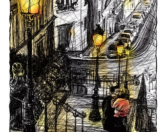 Stairs of Montmartre in the night