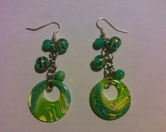 Blue and green dangle earrings FREE SHIPPING