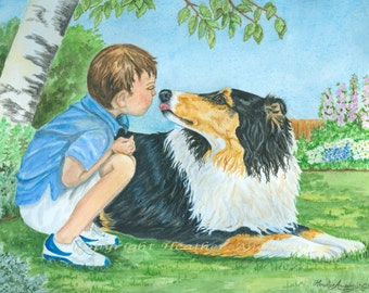 """8x10 giclee print, Rough Collie, """"Collie Love"""", Hand Drawn Collie Art, Tricolor Collie Kissing Boy, Dog Art, DOG LOVER GIFT"""