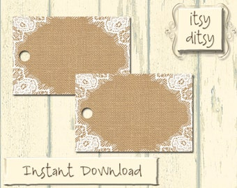 Rustic favor tags - DIY wedding Burlap & Lace wedding favor tags - Rustic printable favour tags - place cards -Instant Download