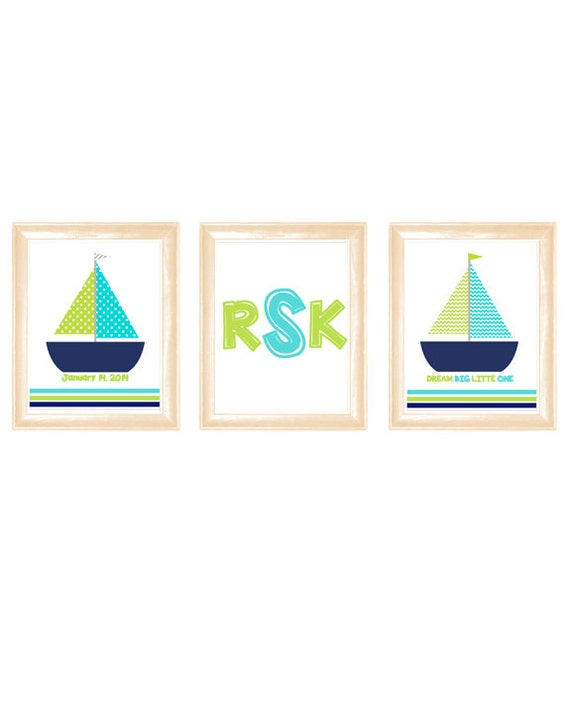 Navy Blue And Green Wall Decor : Items similar to sailboat nursery wall art turquoise