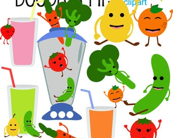 Fruits and Veggies Smoothies Digital Clip Art for Scrapbooking Card Making Cupcake Toppers Paper Crafts