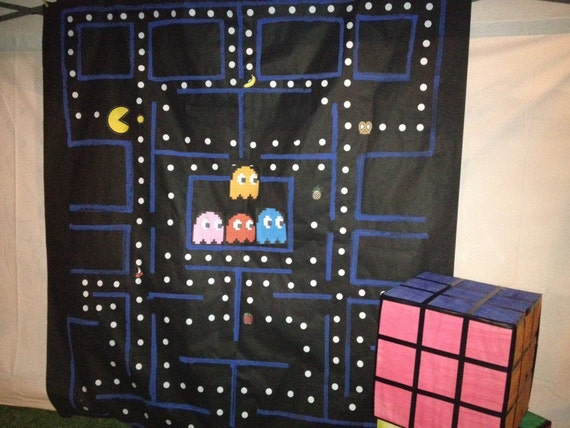 Items similar to photo booth pacman 80 39 s theme backdrop for 80 s table decoration ideas