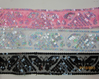 1meter-Sequin Organza trim / SFL004 Sequin trim