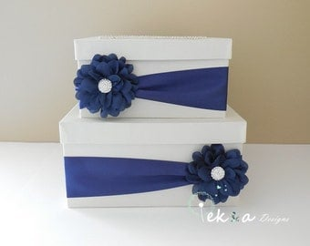 Wedding card box / money box / card holder / gift card box / 2 Tier (Ivory & Navy Blue)