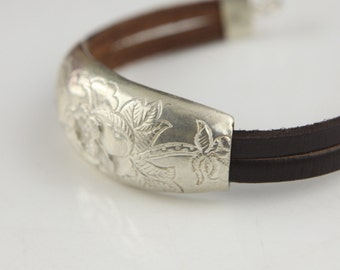 Silver flower carving bracelet , only one