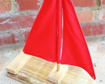 Toy/Photography Prop Sailboat- Rad Red