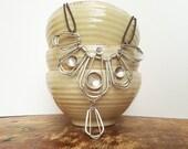 sterling silver statement necklace / / silver bib necklace / / modern art necklace / / geometric necklace - handmade by MAmetaldesigns