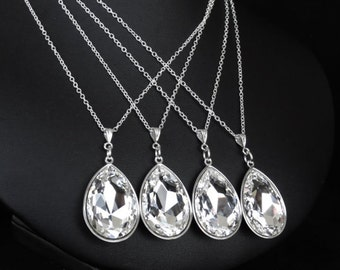 Bridal Necklace Bridesmaid Jewelry Crystal Bridal Jewelry Crystal Pear Drop Necklace Bridal Jewelry Wedding Jewelry Swarovski Crystal Pear