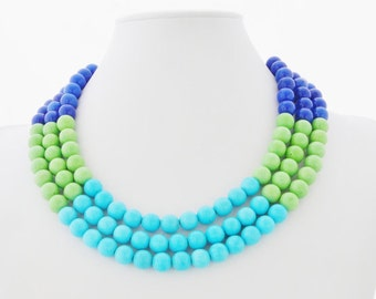 Color Block Necklace - Lapis Blue Necklace - Lime Green Necklace - Turquoise Color Block Necklace - Hombre Style - Green Blue and Turquoise