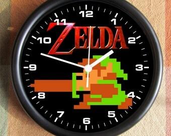 LEGEND OF ZELDA Link Character 8 Bit Game Big 10 inch black wall clock  Ships Tomorrow