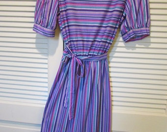 Vintage 70s OOPS CALIFORNIA Dress PurplesPinks/Green/White Stripe Size 11/12