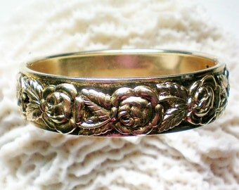 Floral Hinged Bangle with Rose Design - 2791