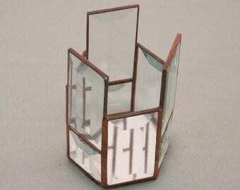 Geometric Prism Glass Candleholder