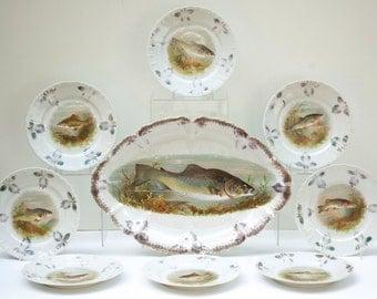 Bohemia Antique 9-Piece Fish Set by Moritz Zdekauer Altrohlau Austria 1884-1909