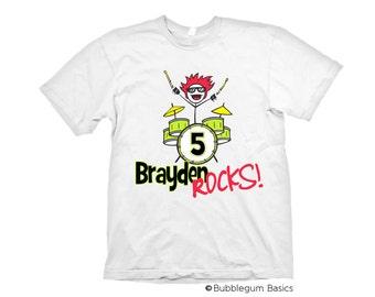 Personalized Boys ROCK STAR Drummer Birthday Age Design Name Custom