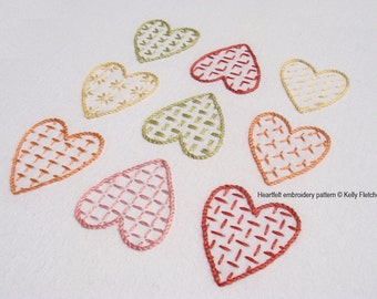 Heartfelt modern hand embroidery pattern - modern embroidery PDF pattern, digital download