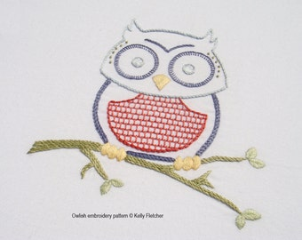 Owlish modern hand embroidery pattern - modern embroidery PDF pattern, digital download