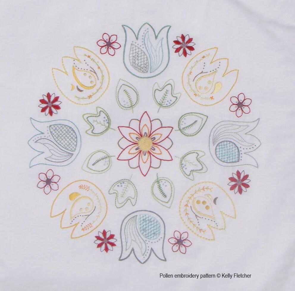 Pollen modern hand embroidery pattern by kfneedleworkdesign