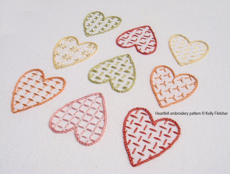 Heartfelt modern hand embroidery pattern
