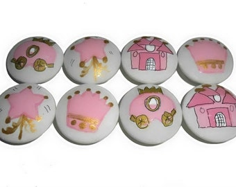 8 Custom Girls Pink Princess Hand Painted Drawer Pulls Knobs