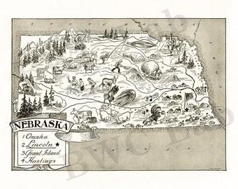 Pictorial Map of Nebraska - fun illustration of vintage state map