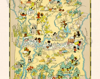 Pictorial Map of Alabama - colorful fun illustration of vintage state map