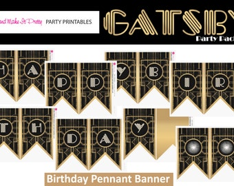 HAPPY BIRTHDAY Banner - Gatsby / Art Deco Inspired Printable Banner ONLY--- Black and Gold