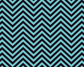 Aqua and black chevron craft  vinyl sheet - HTV or Adhesive Vinyl -  zig zag pattern   HTV75