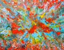 Red Wizard's Universe. Acrylic. Abstract. 36X48 inches. By: William Colditz