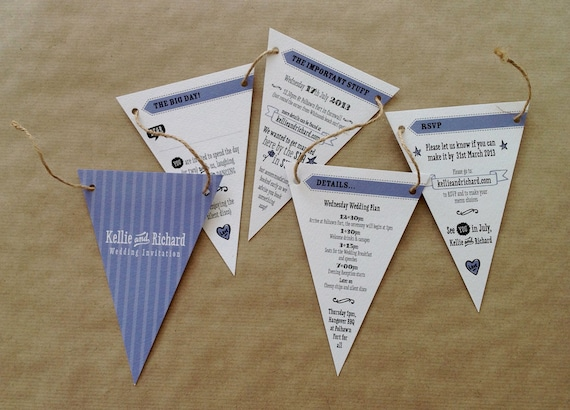 Bunting Wedding Invite: Bunting Wedding Invitation Sample Only