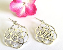 Silver seed of life earrings, flower of life earrings, Kabbalah jewelry, silver earrings, silver piercing,mandala earrings , Jewish jewelry